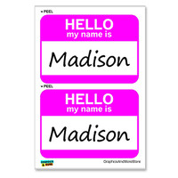 Madison Hello My Name Is - Sheet of 2 Stickers