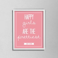 "Audrey Hepburn Typography Quote Poster. Happy girls are the prettiest. Minimalist and Modern. Bedroom or Nursery Poster. 8.5x11"" print."