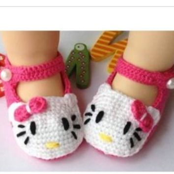 Hellokitty Newborn Baby Crochet Shoes Baby Toddler Shoes Baby Girl Crochet Knit Flower Sandals Infant Shoes (11cm)