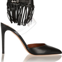 Valentino - Fringed textured-leather and PVC pumps