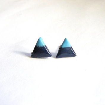 Blue Mountain Stud Earrings, Turquoise and Navy Triangle Earrings,  Minimalist Jewelry  Unisex Mens Earrings