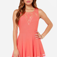Wow or Never Sleeveless Coral Dress