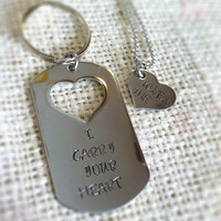 Stainless steel keychain and necklace his and hers I carry your heart with me  , mirror finish heart cut out  dog tag
