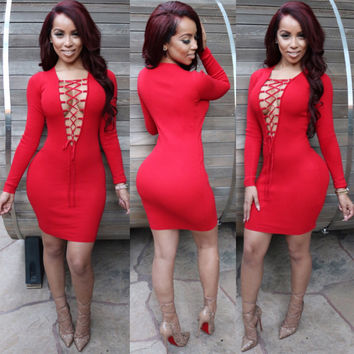 Red Deep V  Lace Up Long Sleeves  Bodycon Midi Dress
