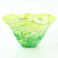 Mini Green Floppy Bowl - Hand Blown Glass Bowl by Glass Eye Studio Containing Ash of Mount St Helens