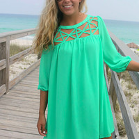 Endless Relaxation High Neck Cut Out Green Quarter Sleeve Shift Dress