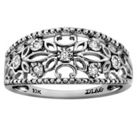 10k White Gold Diamond-Accent Anniversary Band Ring (0.05 cttw, H-I Color, I1-I2 Clarity)