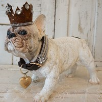 French bulldog statue hand painted white cream adorned with crown and rhinestone leash by anita spero design
