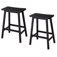 Set of 2 Wooden Bar stools Dining Room Kitchen Saddle Seat Chair