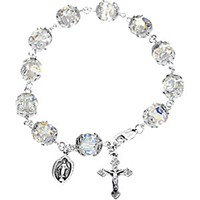 Genuine Diamond Cut Crystal Rosary Bracelet