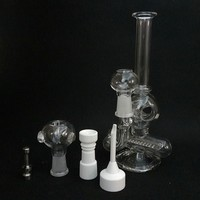 Glass Bongs 8 inch. Two Function Oil Rig Percolator 14.5mm joint with Glass Bowl Dome Nail Titanium Nail Ceramic Nail Carb Options