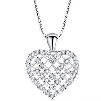 Dainty Crystal Heart Pendant Necklace Gold Plated