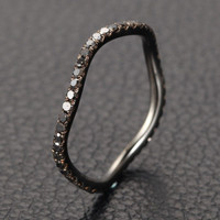 Pave Black Diamond Wedding Band Eternity Anniversary Ring 14K White Gold Curved