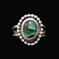 Oval Abalone Sterling Silver Ring, Boho Jewelry, Size 6