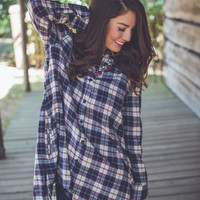 Oversized Plaid Top in Navy
