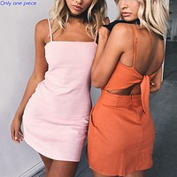 Fashionable new suspended beach skirt sexy open-backed bowknot A-shaped skirt