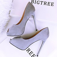 Slim heel super high heel waterproof platform shallow mouth suede sexy fish mouth single shoes high heels Grey