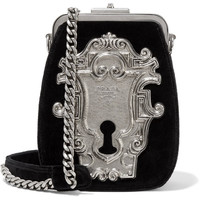 Prada - Embellished velvet shoulder bag