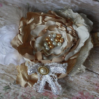 IVORY GOLD, headband, lace, tutu monde, dollcake, over the top, ooak, boutique headband, photo prop, baby girl, toddler adult, pearl, m2m