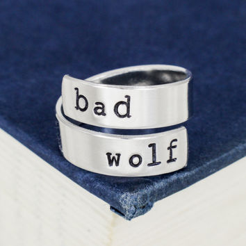 Bad Wolf - Doctor Who - Adjustable Aluminum Wrap Ring
