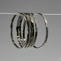 Set of 5 Super Thin Black Silver Stackable Rings