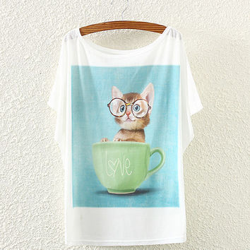 White Cat And Cup Print T-Shirt