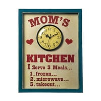 Mom's Kitchen Menu Wall Art Sign Clock Décor