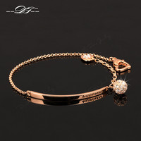 Rose Gold Plate Double Fair CZ Diamond Ball Charm Bracelet