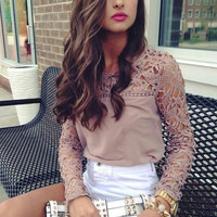 Khaki Cutout Lace Long-Sleeve Shirt