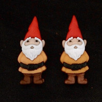 Adorable Post Back Earrings Featuring Gnomes With Yellow Tunics And Red Pointy Hats