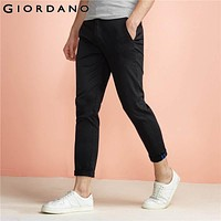 Men Pants Solid Ankle Fashion Trousers for Men Male Slim Roll-up Pants