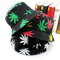 Fashion Hip Hop Green White Leaf Print Fishing Caps Weed Bucket Hats For Mens