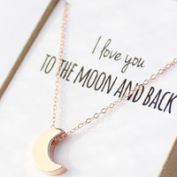 Rose Gold Moon Necklace - Tiny Moon Necklace - Delicate Rose Gold Necklace - Dainty Small Necklace - Mother's Day Gift