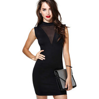 Black V-Neck Mesh Cutout Bodycon Mini Dress