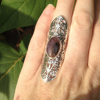 Super 7 Amethyst Smoky Quartz Clear Quartz Rutile Goethite Lepidocrocite Cacoxenite Melody's Stone Sterling Silver Statement Ring Size 7