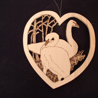 Two SWANS Resting-Ornament