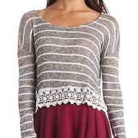 CROCHET-TRIMMED STRIPED LONG SLEEVE CROP TOP