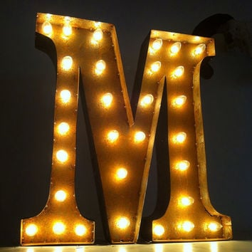 Vintage Marquee Lights Letter M by VintageMarqueeLights on Etsy