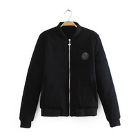 Black Swan Patch Zippered Jacket