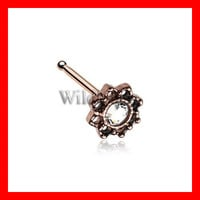 Rose Gold Lotus Flower Filigree Sparkle Icon Nose Stud Ring 316L Surgical Steel