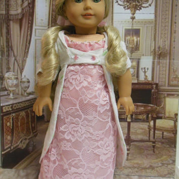 """Historical American girl doll clothes """"Regency Roses"""" (18 inch)Early 1800s Caroline Thimbles and Acorn Pattern pink white roses"""