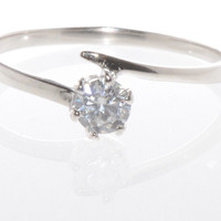 Sterling Silver Cubic Zirconia Ring 4mm 6 prong Round Clear AAA CZ with rhodium