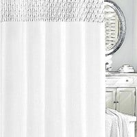 Smock Pleat Shower Curtain| White