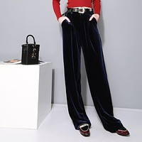 Women Casual All-match Fashion Velvet Solid Color Wide Leg Pants Leisure Pants Trousers