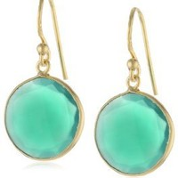 """18KT Yellow Gold Plated Sterling Silver Bezel Set Round Faceted Green Onyx Drop Earrings, 1.25"""""""