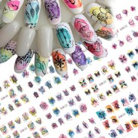1 Sets 2017 Colorful Mixed Animal/Flower/Dream Catcher Tips Water Transfer Sticker Nail Art Manicure DIY Decor Tool CHBN409-444