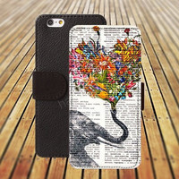 iphone 5 5s case dream elephant up flowers heart iphone 4/4s iPhone 6 6 Plus iphone 5C Wallet Case,iPhone 5 Case,Cover,Cases colorful pattern L313