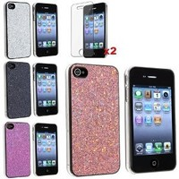 eForCity 4 Bling Glitter Hard Case Skin compatible with iPhone® 4 4G Version iPhone® 4S - AT&T, Sprint, Version 16GB 32GB 64GB, with 2 screen protector free