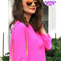 Pink Mirror Aviator Sunglasses Gold Frame