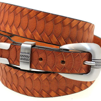 Hand Crafted In USA 35mm Tapered London Tan Bridle Embossed Leather Belt With 3 Piece Buckle Set  Men Or Women